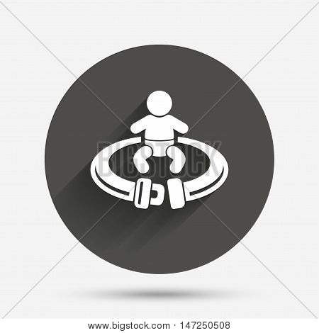 Fasten seat belt sign icon. Child safety in accident. Circle flat button with shadow. Vector