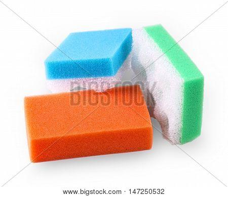 Set of multi-colored squire bath sponge on white