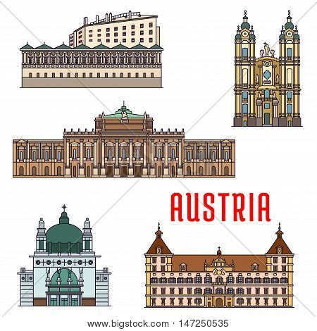 Historic buildings of Austria. Vector architecture icon of Burgtheater, Eggenberg Palace, Melk Abbey, Ambras Castle, Kirche am Steinhof for souvenirs, postcards, t-shirts