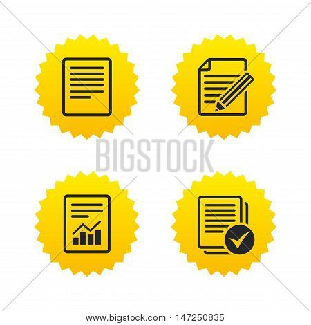 File document icons. Document with chart or graph symbol. Edit content with pencil sign. Select file with checkbox. Yellow stars labels with flat icons. Vector