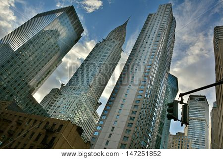 New York, United States of America - October 5, 2015. The Chrysler Building in New York City, with surrounding skyscrapers.
