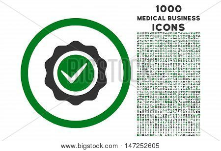Valid rounded vector bicolor icon with 1000 medical business icons. Set style is flat pictograms, green and gray colors, white background.