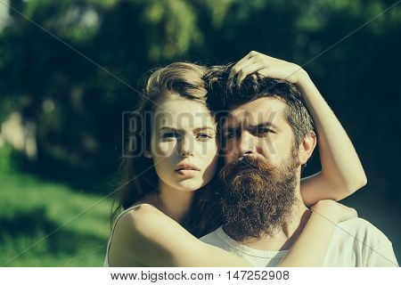Sexy Young Couple On Green Grass