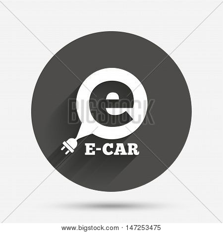 Electric car sign icon. Electric vehicle transport symbol. Speech bubble. Circle flat button with shadow. Vector