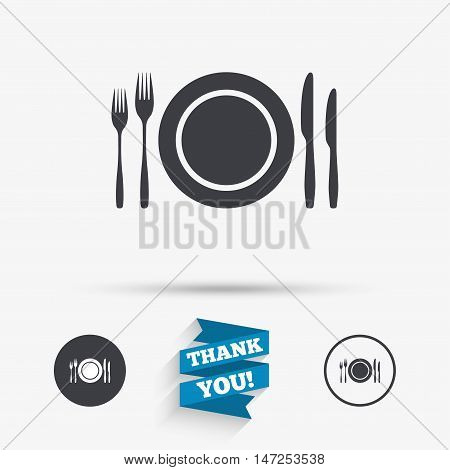 Plate dish with forks and knifes. Eat sign icon. Cutlery etiquette rules symbol. Flat icons. Buttons with icons. Thank you ribbon. Vector