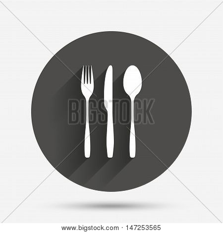 Fork, knife, tablespoon sign icon. Cutlery collection set symbol. Circle flat button with shadow. Vector