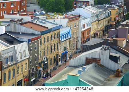 QUEBEC-CANADA, 11 Sept 2016:  View of st-John street in St-Jean-Baptiste area in Quebec city in Canada.  The oldest city in north america.