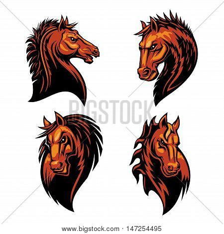 Furious horse head heraldic icons set in fire shape. Raging stallion vector heraldry emblems. Mustang shield symbol for sport club emblem, team badge, label and tattoo