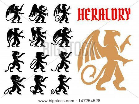 Heraldic mythical animals icons set. Vector heraldry emblem silhouettes of Griffin, Dragon, Lion, Pegasus, Horse for tattoo, shield