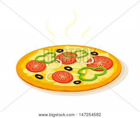 Hot fragrant pizza, fast food delivery logo, vector illustration