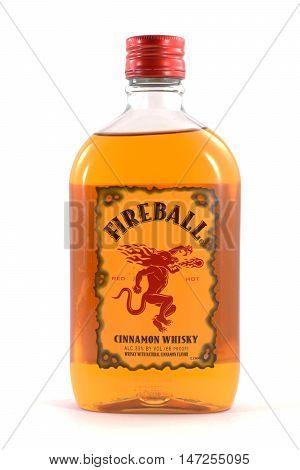 NEW YORK NY - SEPTEMBER 8th 2016: 750ml bottle of Fireball Cinammon Whiskey isolated on white background