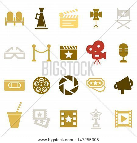 Cinema retro movies icons set. Template vector concept isolated on white