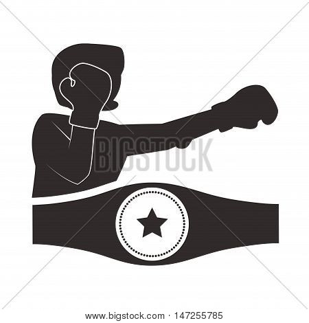 Boxer belt helmet and gloves icon. boxing sport competition and training theme. Isolated design. Vector illustration