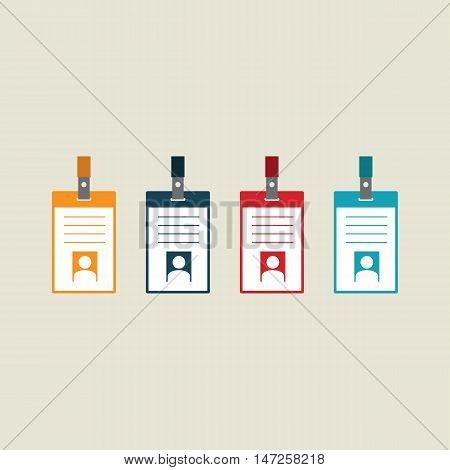 Badge identification card collection of identification label flat design vector illustration