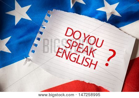 Do you speak English on notepaper and the US flag