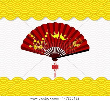 Chinese New Year Background with blossoms and rooster on fan