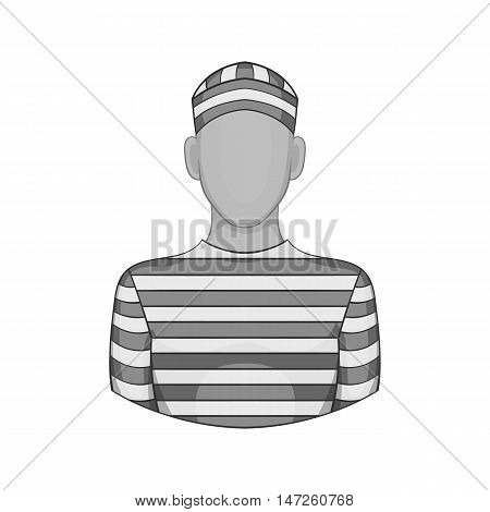 Prisoner icon in black monochrome style isolated on white background. Punishment symbol vector illustration