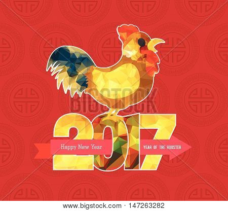 Chinese new year 2017 polygonal rooster design