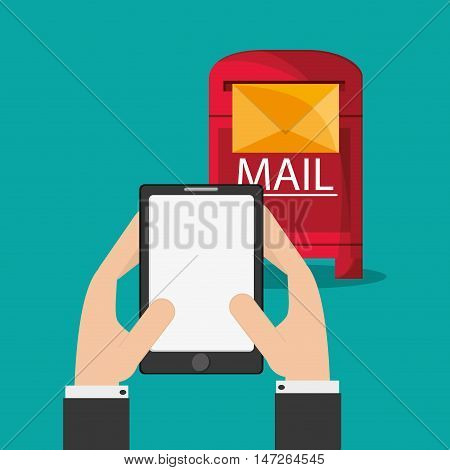 flat design mobile phone messaging image vector illustration