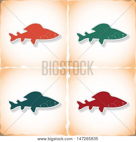 Fish grayling. Flat sticker with shadow on old paper. Vector illustration
