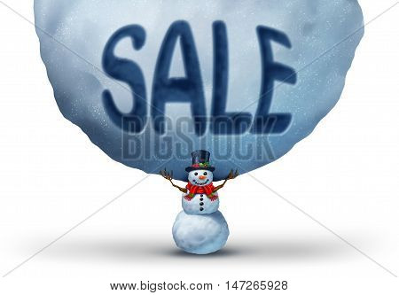 Winter sale icon with a snowman lifting up a giant snowball with text embosed in the snow as a retail marketing and promotion symbol to advertise a Chritmas specials or holiday rebates with 3D illustration elements.