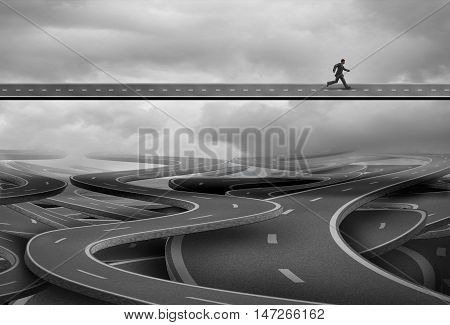 Pathway to freedom and concept for escape and a way forward towards success as a businessman finding the solution path and rise above and leave the confusion of a group of tangled roads below with 3D illustration elements.