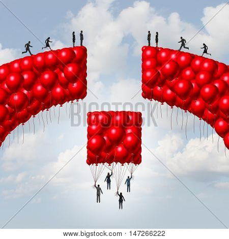 Management team business concept as a group of balloons shaped as a broken bridge with leaders rising up with a balloon collection bridging the gap as a solution metaphor for teamwork and global unity symbol with 3D illustration elements.