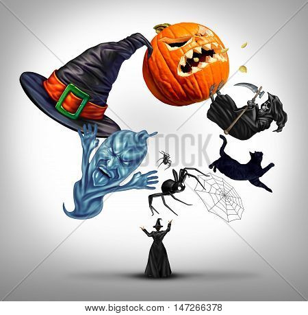 Halloween juggling witch as a sorcerer using symbols of a fall celebration as a hat spiders spiderweb and black cat also a pumpkin jack o lantern with 3D illustration elements.