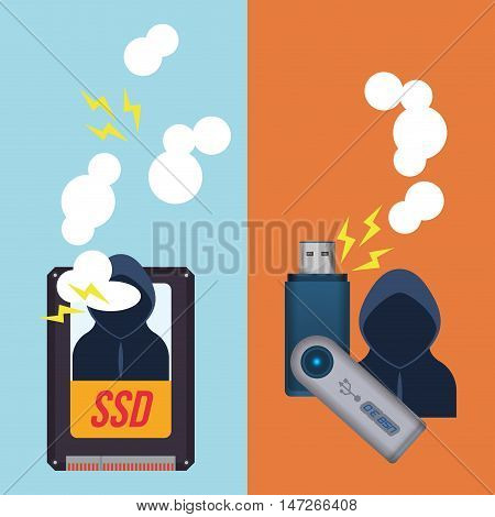 Hacker ssd usb and icon. Cyber security system and media theme. Colorful design. Vector illustration