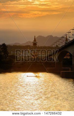 Third Thai - Lao Friendship Bridge at sunset time Nakhon Phanom Province Thailand