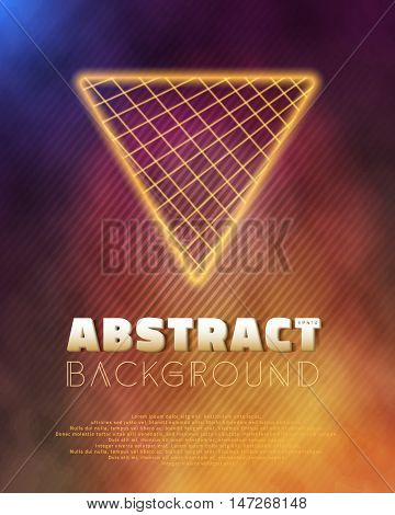 Illustration of Neon Poster Template Retro Disco 80s Background. Into The Future Music Abstract Poster Cover 1980s Style Background