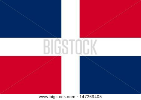 Flag of the Dominican Republic in correct size proportions and colors. Accurate official standard dimensions. Dominican Republic national flag. Patriotic symbol banner element background. Vector