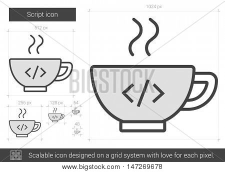 Script vector line icon isolated on white background. Script line icon for infographic, website or app. Scalable icon designed on a grid system.