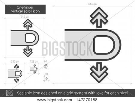 One-finger vertical scroll vector line icon isolated on white background. One-finger vertical scroll line icon for infographic, website or app. Scalable icon designed on a grid system.