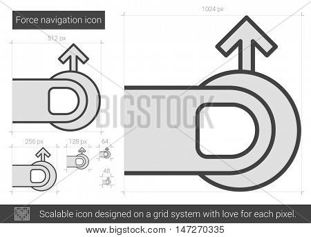 Force navigation vector line icon isolated on white background. Force navigation line icon for infographic, website or app. Scalable icon designed on a grid system.