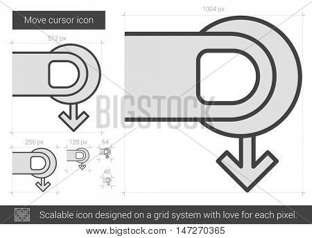 Move cursor vector line icon isolated on white background. Move cursor line icon for infographic, website or app. Scalable icon designed on a grid system.