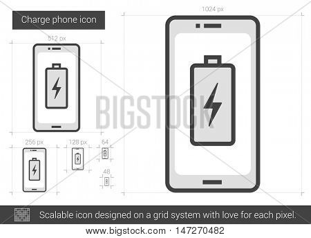 Charge phone vector line icon isolated on white background. Charge phone line icon for infographic, website or app. Scalable icon designed on a grid system.