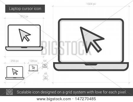 Laptop cursor vector line icon isolated on white background. Laptop cursor line icon for infographic, website or app. Scalable icon designed on a grid system.