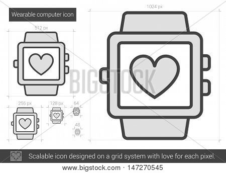 Wearable computer vector line icon isolated on white background. Wearable computer line icon for infographic, website or app. Scalable icon designed on a grid system.