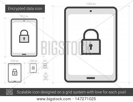 Encrypted data vector line icon isolated on white background. Encrypted data line icon for infographic, website or app. Scalable icon designed on a grid system.