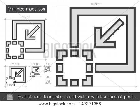 Minimize image vector line icon isolated on white background. Minimize image line icon for infographic, website or app. Scalable icon designed on a grid system.