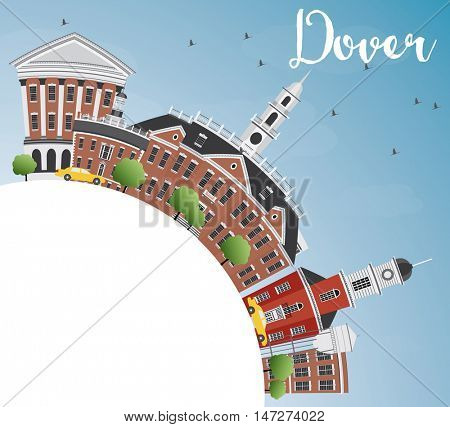 Dover Skyline with Color Buildings, Blue Sky and Copy Space. Business Travel and Tourism Concept with Historic Buildings. Image for Presentation Banner Placard and Web Site.