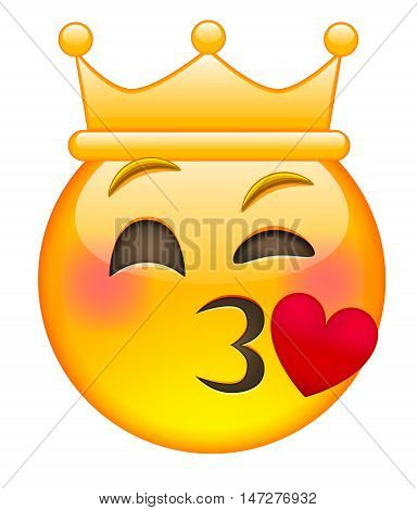 Kissing Eyewink Face Emoji with Crown. Isolated vector illustration on white background