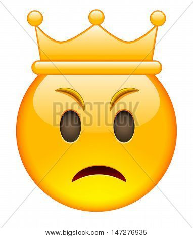 Angry Face with Crown. Angry Emoji with Crown. Angry Smile Emoticon with Crown. Isolated vector illustration on white background