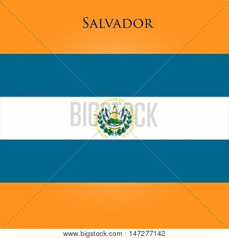 Flag of El Salvador on a yellow background. Vector illustration