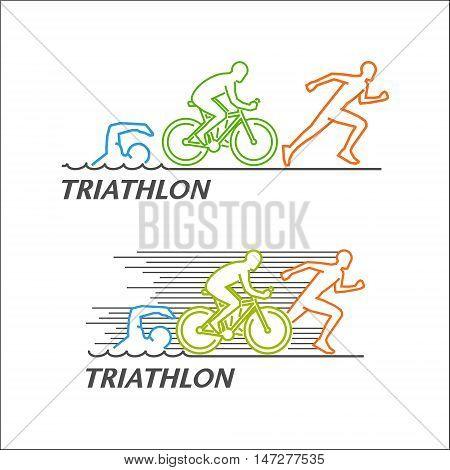 Line vector logo for triathlon. Stylish symbol for triathlon on white background.