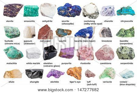 Set From Decorative Gems And Minerals With Names