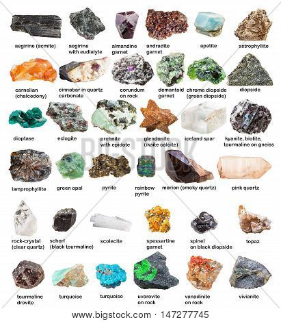 Collection From Gemstones And Crystals With Names