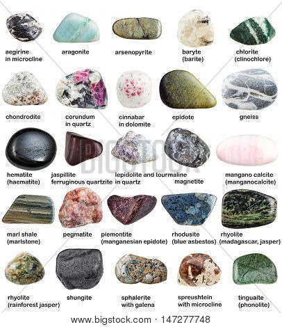 Various Polished Minerals With Names Isolated