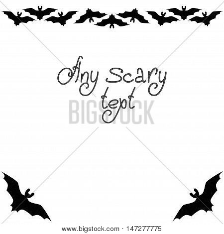 Cute background Halloween pattern border frame with repeating bats isolated on the white fond. With space for invitations or different events greeting cards text. Vector illustration